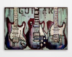 Guitar painting Music art Les Paul Gift for a by MagdaMagier