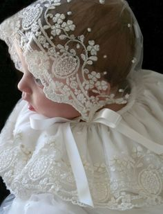 47de1c56d740c Legacy Christening Gown in Ivory Embroidered Lace with Lace Bonnet. Baby  Girl ...
