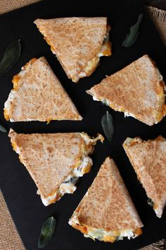 Roasted Butternut Squash Quesadillas with Goat Cheese and Crispy Sage