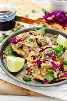 Thai Peanut Chicken Tostadas