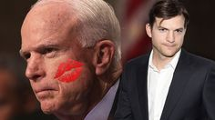 Ashton Kutcher blew a kiss at John McCain and lol what is happening?