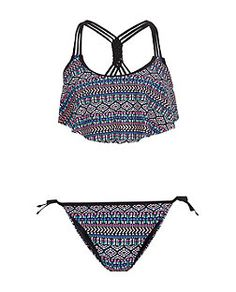 Timemory Women Two Pieces High Waisted Ruffled Patterned Bathing Suits Swimwear