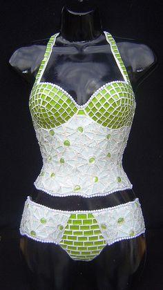 mosaic corset - green