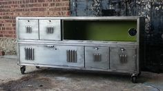 Vintage Repurposed Steel Locker Console Cabinet in Brooklyn, NY, USA ~ Krrb Decor, Lockers, Vintage Repurposed, Vintage Industrial Furniture, Furniture, Steel Cabinet, Vintage Lockers, Console Cabinet, Vintage Metal Cabinet