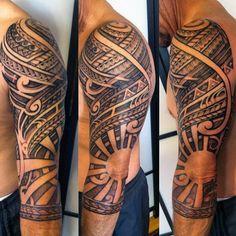 ... Polynesian Tribal Half Sleeve Tattoo With Negative Space Sun Design