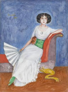 Portrait of Ellen Roosval, 1919 (other version) by Nils Dardel (Swedish 1888-1943)