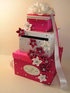 Silver Wedding Card Box Gift Card Box Money Box Holder-Customize your color. $115.00, via Etsy.