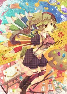 ✮ ANIME ART ✮ anime. . .artist. . .fantasy. . .art supplies. . .paint. . .easel. . .canvas. . .pencils. . .sketchbook. . .rainbow. . .colorful. . .cute. . .kawaii