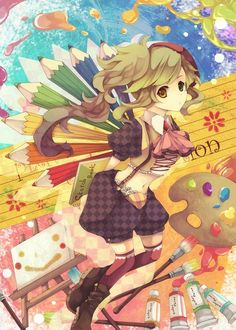 ✮ ANIME ART ✮ anime. . .artist. . .fantasy. . .art supplies. . .paint. . .easel. . .canvas. . .pencils. . .sketchbook. . .rainbow. . .colorful. . .cute. . .kawaii
