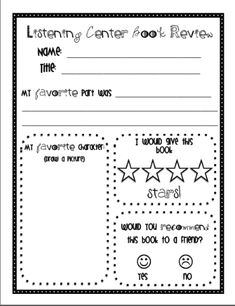 """Daily 5 """"Listen to Reading"""" Response Sheets...I wonder about binding a whole bunch of these and it could be a class book that the kids fill in as they go to the listening center ???"""