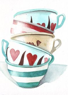 Original watercolor art tower of teacups stripes by HelgaMcL, $22.00