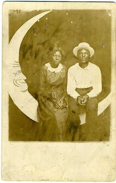 Paper Moon Real Photo Post Card: African-American Couple by mrwaterslide,