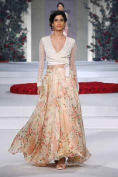 Printed organza skirt with ivory embroidered body LABEL : Varun Bahl