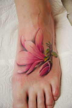 See more 3D pink color lily tattoos on feet