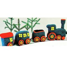 INSTANT DOWNLOAD PDF Vintage Crochet Pattern Holiday Train Engine Carriage Passenger Car Toy Retro