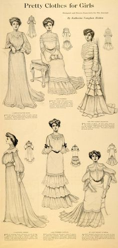 1900's featured pleated skirts, flounced skirts and fish tail skirts
