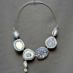 Mick Marineau & Barb Jensen Crochet sand dollar porcelain necklace