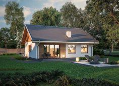 Miarodajny - wariant X Village House Design, Village Houses, Simple House Plans, Compact House, Contemporary House Plans, Small House Design, Wooden House, Home Design Plans, Cottage Homes