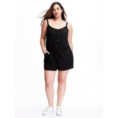 Old Navy Linen Blend Plus Size Romper ($25) ❤ liked on Polyvore featuring jumpsuits, rompers, black, plus size, plus size jumpsuits rompers, white romper, plus size rompers, plus size romper and playsuit romper