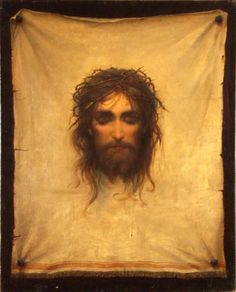 Veil of Veronica attributed to Gabriel Cornelius von Max - Veil Of Veronica, St Veronica, Religious Photos, Religious Art, Heart Of Jesus, Jesus Is Lord, Christian Images, Christian Art, Jesus E Maria