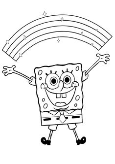 Funny and cheerful cartoon character, spongebob coloring page here to print or download. There is also rainbow above his head, you must color it too! Enjoy!
