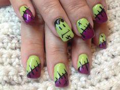 Halloween nails Nails Only, Get Nails, How To Do Nails, Hair And Nails, Holiday Nail Art, Fall Nail Art, Halloween Nail Art, Halloween Halloween, Cute Nail Art Designs