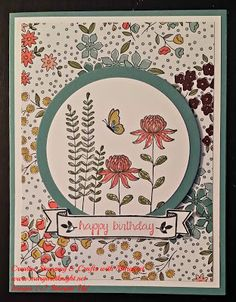 Wildflower Fields DSP, Flowering Fields stamp set, birthday greeting is from And Many More stamp set, banner is from Bloomin' Love stamp set. Card stock is lost lagoon & whisper white.
