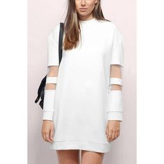 Yoins Yoins Mesh Insert Long Sleeve Sweatshirt Dress ($25) ❤ liked on Polyvore featuring dresses, cocktail dresses, white, mesh inset dress, white sweatshirt dress, long sleeve dress, sporty dresses and longsleeve dress