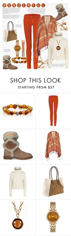 """""""Sherling Biker Boots & Uggs Tote Handbag"""" by helenaymangual ❤ liked on Polyvore featuring Devon Page McCleary, 7 For All Mankind, Roger Vivier, Topshop, Tommy Hilfiger, UGG, Goshwara, Michael Kors and Clarins"""