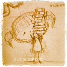 Little girl holding all of her favorite books! Cute Sketches, Doodle Inspiration, Comic Strips, Little Girls, Cartoon, Drawings, Illustration, People, Books