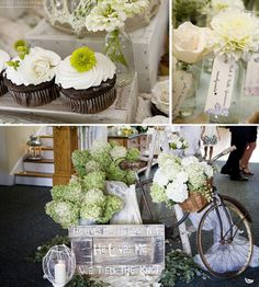 Sage Wedding Decor, Sage Wedding Details, Vintage Wedding Decor