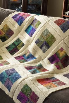 Mitered Squares Blanket   Noro Silk Garden and Cascade Eco W…   Flickr