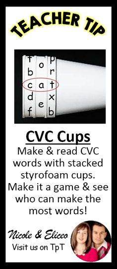 TEACHER TIP: Easy CVC word twister made with just 3 cups!
