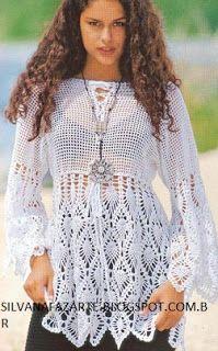 Fabulous Crochet a Little Black Crochet Dress Ideas. Georgeous Crochet a Little Black Crochet Dress Ideas. Crochet Tunic, Crochet Clothes, Crochet Lace, Russian Crochet, Crochet Tops, Crochet Cover Up, Summer Tunics, Pineapple Crochet, Pineapple Top