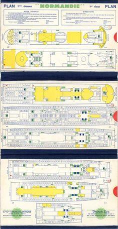 Paquebot S.S Normandie - PLANS DES 1ères CLASSES