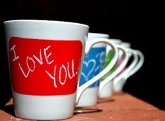 Coffee mugs you can write on! Great Article on how to use these #DIY mugs in your relationship! Fun!!
