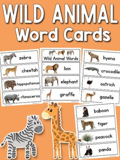 "These printable wild animal picture-word cards include mostly African safari animals, but a few other wild animals. There are 16 cards in all. Find more Wild Animal Activities for Preschool here! African animal cards include: lion, elephant, giraffe, zebra, cheetah, hippopotamus, rhinoceros, hyena, crocodile, ostrich, gazelle, baboon. Also included: tiger and peacock (Indian animals), panda (China), koala (Australia). These wild animals are included in case someone uses a ""wild animals""…"