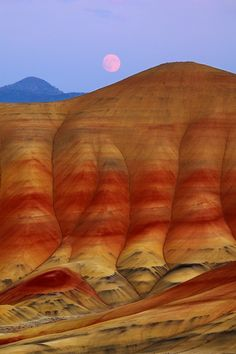 Nature Photography Painted Hills Moonrise Photo Red by ndtphoto