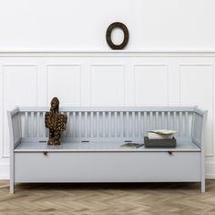 Truhenbank mit senkrechten Streben, groß in Grau von Oliver Furniture, Seaside Collection