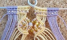 Yellow and purple macrame bracelet