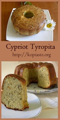 Cypriot Tyropita is a savoury cake which we make in Cyprus with halloui and mint.Tyropita pronounced ti-RO-pee-ta) means cheese from tyri and pie from pita. Honey Recipes, Greek Recipes, Baking Recipes, Greek Bread, Cyprus Food, Greek Appetizers, Greek Sweets, Greek Cooking, Greek Dishes