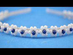 Walkthrough: Tiara with twisted pearl Flower Hair Bows, Diy Hair Bows, Hair Ribbons, Kanzashi Tutorial, Hair Bow Tutorial, Hair Jewelry, Beaded Jewelry, Beaded Bracelets, Beaded Headbands
