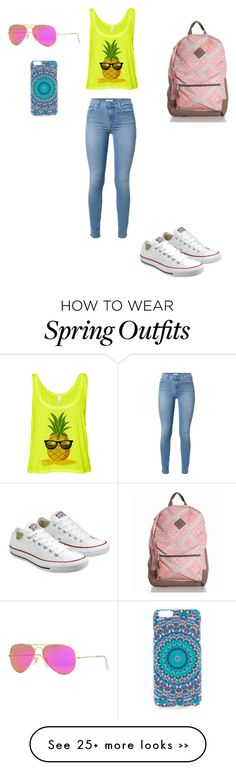 """Summer"" by katie-13411 on Polyvore featuring Monika Strigel, Converse, 7 For All Mankind and Ray-Ban"