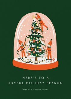 If Elves in a snow globe decorating a Christmas tree doesn't say season's greetings, we don't know what does! This Rifle Paper Co. for Paperless Post design is perfect to kick off this joyous season. Christmas Poster, Christmas Mood, Vintage Christmas, Christmas Greeting Cards, Christmas Greetings, Holiday Cards, Christmas Cards Online, Mery Crismas, Christmas Graphic Design