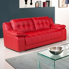 small red leather sofas for vibrant small living area in