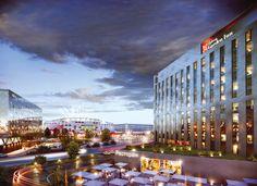 Hilton Garden Inn Tushino | hotel design | FC Spartak | stadium design | Otkritie Arena | masterplanning | facade design | aluminium cladding Hotel Architecture, Hotel Branding, Aluminium, Cement, Building, Places, Garden, Fiber, Design