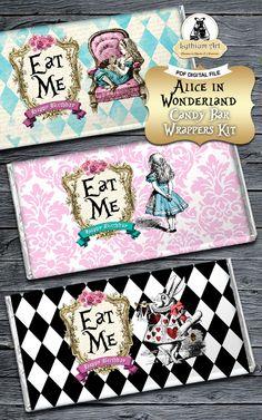 Alice in Wonderland Candy Bar Wrapper  Alice in por LythiumArt
