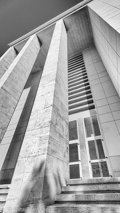Walk the Viale della Libertà, from the Forlì train station to the Monument to the Fallen, and see twenty years of rationalist architecture. Atrium, Train Station, Facade, Stairs, Italy, Architecture, Columns, Public, Strong