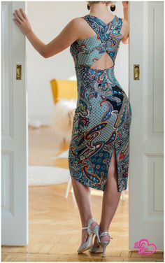 Dress, poly stretch fabric, slits in the backSize S/M Argentine Tango, Tango Dress, Dance Outfits, Stretch Fabric, Dame, Summer Dresses, Keys, Clothes For Women, Casual