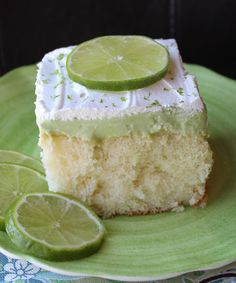 Key Lime Poke Cake. I am making this to take to work for St. Paddy's day! YUM!